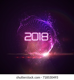 Happy New 2018 Year. Vector holiday illustration of glowing neon 2018 sign and shiny abstract luminous splash of particles and lens flare light effect. NYE party invitation design element