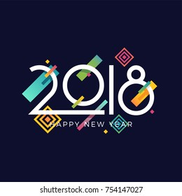 Happy New 2018 Year vector greeting card, poster, banner or flyer template in trendy minimalistic memphis style with colourful abstract geometric design elements