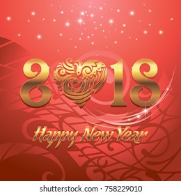 Happy New 2018 Year. Vector greeting illustration with golden lettering and red background