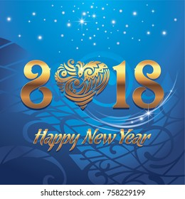 Happy New 2018 Year. Vector greeting illustration with golden lettering and blue background