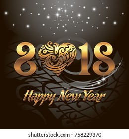 Happy New 2018 Year. Vector greeting illustration with golden lettering and black background