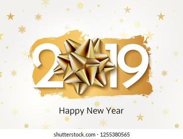 Happy New 2019 Year background gold bow. Christmas celebration card decoration.