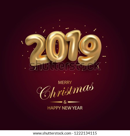 happy new 2019 year background golden metallic numbers 2019 and shining confetti particles vector