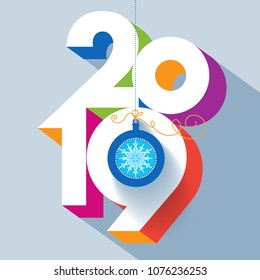 Happy New 2019 year. Colorful, contemporary design. Vector illustration and photo image available.
