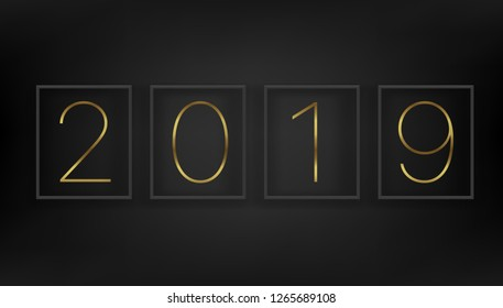 Happy New 2019 year concept. Black wall with black frames. Vector illustration