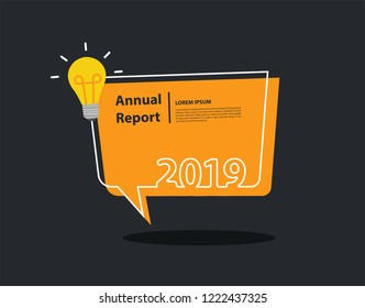 Happy New 2019 year with creative light bulb and speech bubble background flyers, Trendy flat invitation, posters, brochure, banners, calendar and frame border vector design
