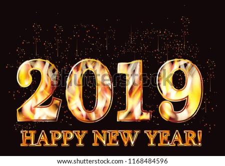 Happy New 2019 Year Fire Wallpaper, Vector Illustration