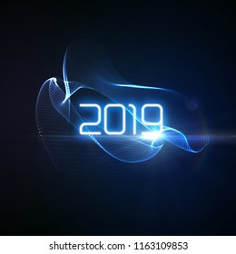 Happy New 2019 Year. Futuristic glowing neon light splash with bursting light rays. Vector holiday illustration. Festive New Year 2019 party sign. Decoration element for design