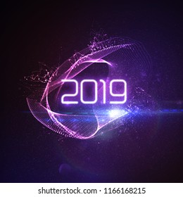 Happy New 2019 Year. Futuristic glowing neon light splash with bursting light rays and particles. Vector holiday illustration. Festive New Year 2019 party sign. Decoration element for design