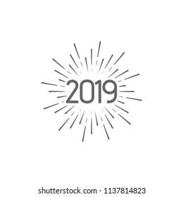Happy New 2019 Year. Holiday vector illustration with typographic composition. Happy New Year 2019 label with star burst. NYE logo design with firework or sparkler shape