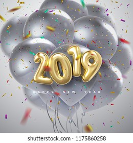 Happy New 2019 Year. Holiday vector illustration of golden metallic numbers 2019, flying silver balloons and confetti particles. Realistic 3d sign. Festive poster or banner design