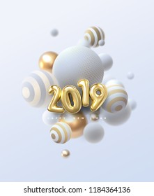 Happy New 2019 Year. Holiday vector illustration of golden metallic numbers 2019 and abstract balls or bubbles. Realistic 3d sign. Festive poster or banner design. Party invitation