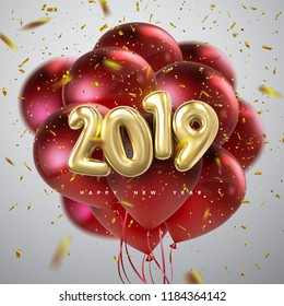 Happy New 2019 Year. Holiday vector illustration of golden metallic numbers 2019, flying red balloons and confetti particles. Realistic 3d sign. Festive poster or banner design