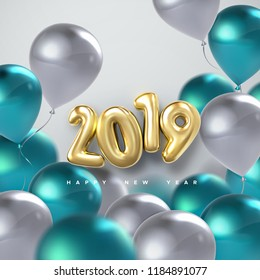 Happy New 2019 Year. Holiday vector illustration of golden metallic numbers 2019 and flying turquoise and white balloons. Realistic 3d sign. Festive poster or banner design