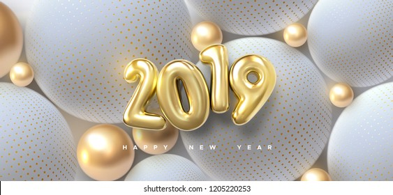 Happy New 2019 Year. Holiday vector illustration of golden metallic numbers 2019 and abstract balls or bubbles. 3d sign. Festive poster or banner design. Party invitation
