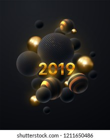 Happy New 2019 Year. Holiday vector illustration of golden metallic numbers 2019 and abstract black balls or bubbles. Realistic 3d sign. Festive poster or banner design. Party invitation