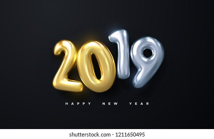 Happy New 2019 Year. Holiday vector illustration of silver and golden metallic numbers 2019 on black background. Realistic 3d sign. Festive poster or banner design