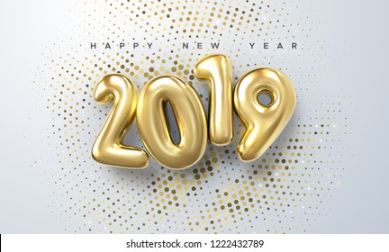 Happy New 2019 Year. Holiday vector illustration of golden metallic numbers 2019 and sparkling glitters pattern. Realistic 3d sign. Festive poster or banner design