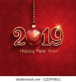 Happy New 2019 Year. Holiday vector illustration of golden numbers on red background with spotlights. Festive poster or banner design