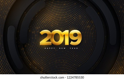 Happy New 2019 Year. Holiday vector illustration of golden metallic numbers 2019 and glittering pattern on black paper shapes background. Realistic 3d sign. Festive poster or banner design