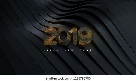 Happy New 2019 Year. Holiday vector illustration of black paper numbers 2019 textured with glittering strass on black paper ribbons background. New year sign. Festive poster or banner design