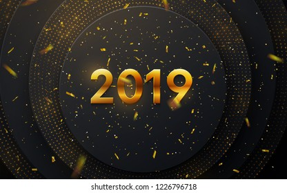 Happy New 2019 Year. Holiday vector illustration of golden metallic numbers 2019, glitters and confetti on black paper shapes background. New year 3d sign. Festive poster or banner design