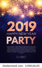 Happy New 2019 Year Party Poster Template with Fireworks Light Effects and Place for Text. Vector illustration