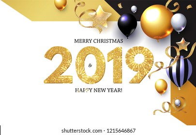 Happy New 2019 Year! Shining Greeting Card with Realistic Glossy Balloons with Serpentine. Vector illustration