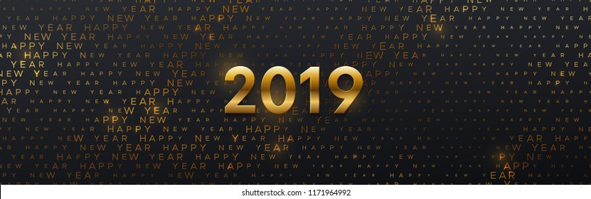 Happy New 2019 Year. Vector holiday illustration. Seasonal festive banner concept. Black background with golden numbers and typography halftone pattern. Greeting card or party invitation template