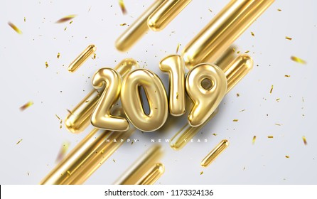 Happy New 2019 Year. Vector holiday illustration of golden 3d geometric primitives and 2019 bubble numbers. Festive sing with sparkling confetti glitters. Trendy cover design