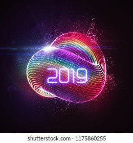 Happy New 2019 Year. Vector holiday illustration of glowing neon 2019 sign and shiny abstract luminous iridescent shape with splash of particles. NYE party invitation design element