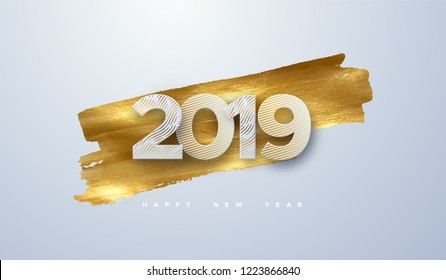 Happy New 2019 Year. Vector holiday illustration of paper cut numbers textured with engraved patterns on golden paint background. Festive event banner. Decoration element for poster or cover design