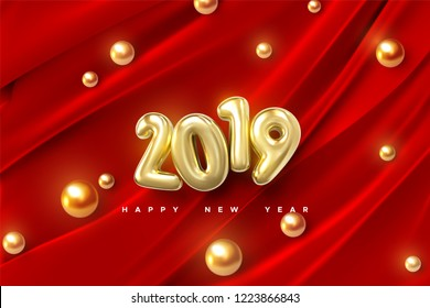 Happy New 2019 Year. Vector holiday illustration of golden numbers on red draped fabric background with shiny spheres or pearls. Festive event banner. Decoration element for poster or cover design