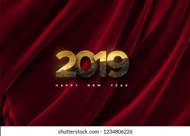 Happy New 2019 Year. Vector holiday illustration of paper cut black numbers textured with golden paint and glitters on fabric background. Festive banner. Decoration element for poster or cover design