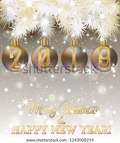 happy new 2019 year wallpaper vector illustration
