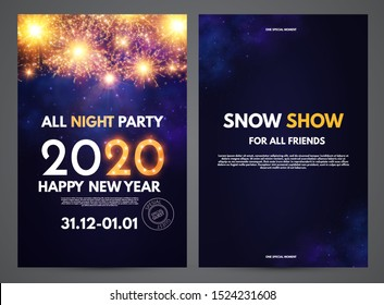 Happy new 2020 year flyer design template set with shining fireworks.