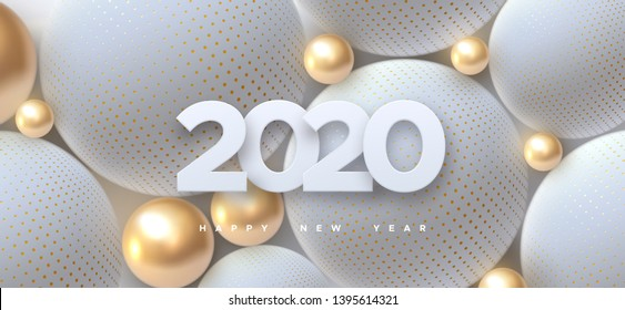 Happy New 2020 Year. Holiday vector illustration of white paper numbers 2019 and abstract balls or bubbles. 3d sign. Festive poster or banner design. Party invitation