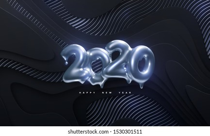 Happy New 2020 Year. Holiday vector illustration of silver metallic numbers 2020 on black paper cut background with wavy shimmering pattern. Melted gold characters. 3d sign. Festive banner design