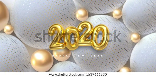 Happy New 2020 Year. Holiday vector illustration of golden 3d numbers 2020 and abstract shimmering balls or bubbles. 3d sign. Festive poster or banner design. Party invitation