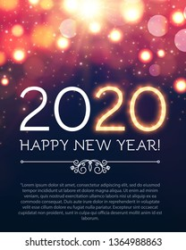 Happy New 2020 Year Party Poster Template with Bokeh Light Effects and Place for Text.