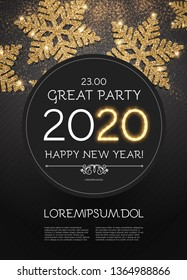 Happy New 2020 Year Poster Template with Shining Gold Snowflakes.