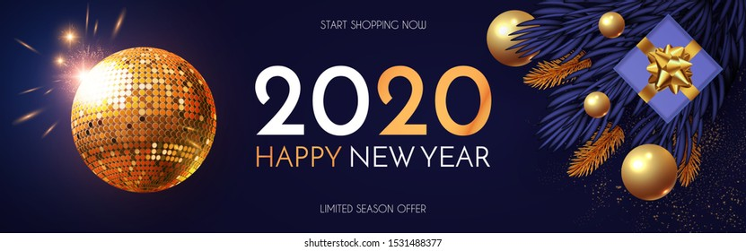 Happy New 2020 Year! Shining holiday design with gold disko ball, fir tree branches, glossy toys, gifts and light. Party invitation.