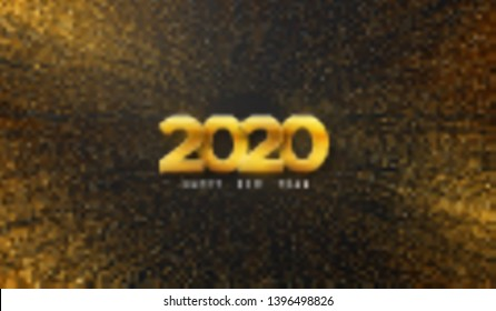 Happy New 2020 Year. Vector holiday illustration. Golden numbers on black background textured with shimmering glitters. Festive event banner with bursting light rays. Modern poster or cover design