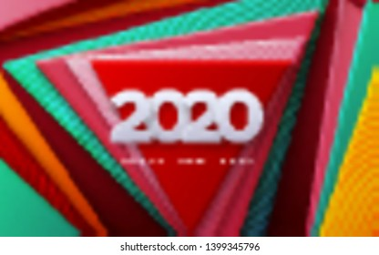 Happy New 2020 Year. Vector holiday illustration. White numbers 2020. Colorful geometric background. Festive event banner. Paper shapes with engraved wavy pattern. Poster or cover design