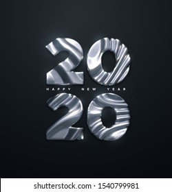 Happy New 2020 Year. Vector 3d illustration. Holiday NYE event sign. Silver metal characters 2020 with wavy sculpted pattern isolated on black. Festive banner or poster design