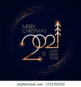 Happy new 2021 year! Elegant gold text with light. Minimalistic text template.