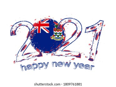 Happy New 2021 Year with flag of Cayman Islands. Holiday grunge vector illustration.