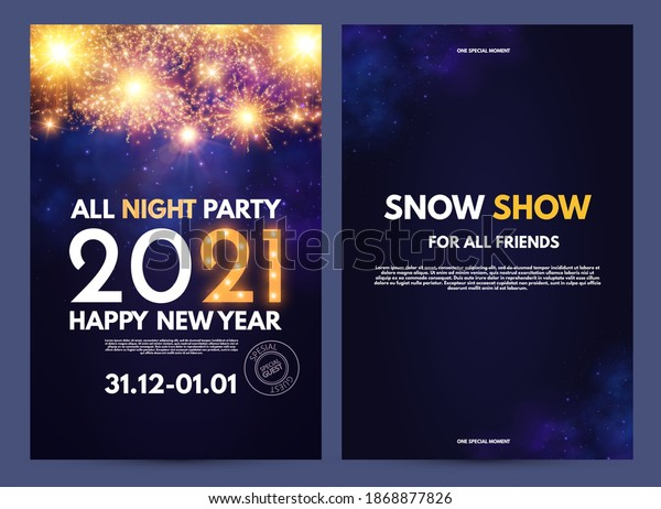 Happy new 2021 year flyer design template set with lights and bokeh effect.