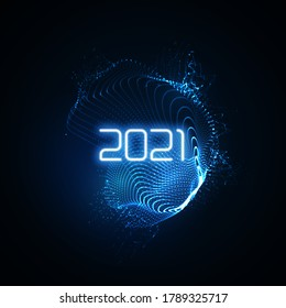 Happy New 2021 Year. Futuristic glowing neon light splash with bursting light rays. Vector holiday illustration. Festive New Year 2021 party sign. Decoration element for design