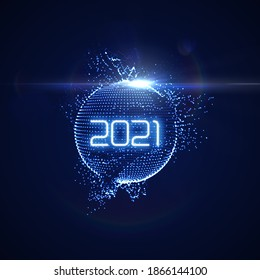 Happy New 2021 Year. Futuristic glowing neon light sphere with bursting light rays. Vector holiday illustration. Festive New Year 2021 party sign. Decoration element for design